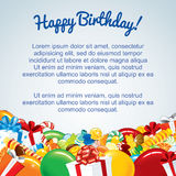 Colorful Birthday Card Template. Vector Illustration for Your Text Royalty Free Stock Photography