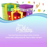 Colorful birthday card with present box. Colorful birthday card theme with present box, additional file in eps 10 Stock Photography