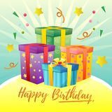 Colorful birthday card theme with present box. Additional file in eps 10 Stock Image