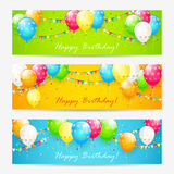 Colorful Birthday cards with balloons and confetti. Colorful Birthday cards with balloons, confetti and holiday pennants, illustration Royalty Free Stock Image