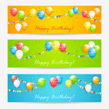 Colorful Birthday cards with balloons Stock Image
