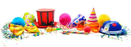 Colorful birthday or carnival background with party items isolat. Ed on white. Festivity concept Stock Photography