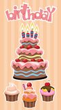 Colorful Birthday Desserts Template. With festive cake and cupcakes stickers on striped background vector illustration Royalty Free Stock Photography