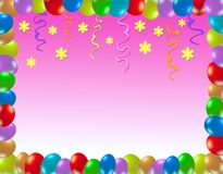 Colorful birthday frame. With baloons Stock Photography