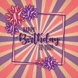 Colorful birthday frame with bow and vintage retro background. Colorful birthday frame with bow and vintage retro background Royalty Free Stock Image
