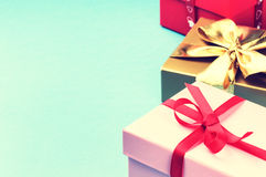 Colorful birthday gift boxes. With copyspace Stock Image