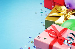 Colorful birthday gift boxes Stock Images