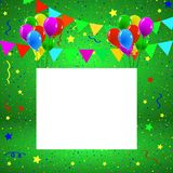 Greeting or Birthday Card with Balloons Confetti Copy Space. Colorful birthday greeting card with balloons Royalty Free Stock Photos