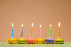 Colorful Birthday Macarons Stock Photography