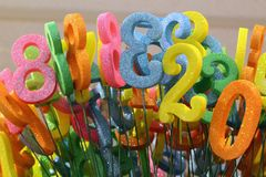 Colorful birthday numbers Stock Photos