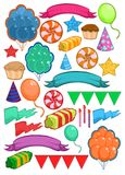 Colorful Birthday Party Elements Set. With balloons ribbons stars hats garland candles sweet products isolated vector illustration Stock Image