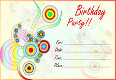 Colorful birthday party invitation for kids vector illustration