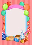 Colorful Birthday Party Invitation Template. With place for text ribbon balloons candles hats cakes candies vector illustration Royalty Free Stock Photography