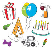 Colorful Birthday Party Symbolic Icons. Set Stock Image