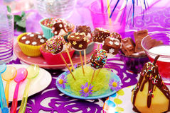 Colorful birthday party table for child Stock Image