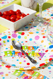 Colorful birthday party table with decoration Royalty Free Stock Photo