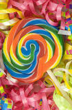 Colorful Birthday Sucker with Ribbons Royalty Free Stock Photo