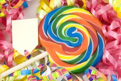 Colorful Birthday Sucker with Tag Royalty Free Stock Photos