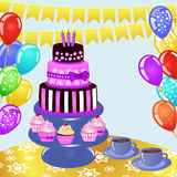 Colorful bIrthday sweets on the table. Birthday background. Eps 10 vector illustration Stock Photography