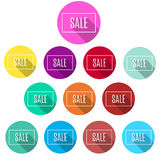 Colorful bis set of sale buttons / banners. Stock Photo