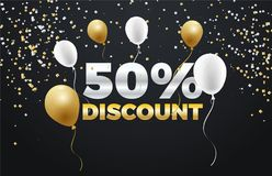 Black Friday special sale 50% discount  banner design. Colorful Black Friday Sale  Poster design. Golden and White Balloons Royalty Free Stock Photos