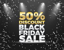 Black Friday special sale 50% discount  banner design. Colorful Black Friday Sale  Poster design. Golden and White Balloons Stock Images