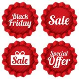 Colorful black friday, sale, special offer labels Stock Images