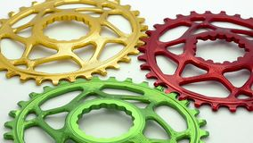 Colorful Black oval bicycle chainring gear stock video