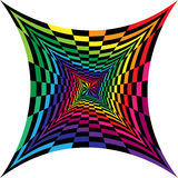 Colorful and Black Spirals of Concave  Rectangles Expanding from the Center. Optical Illusion of Perspective. Vector Illustration. Colorful and Black Spirals of Stock Photography