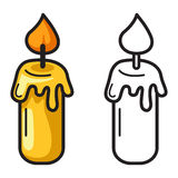 Colorful and black and white candle for coloring book