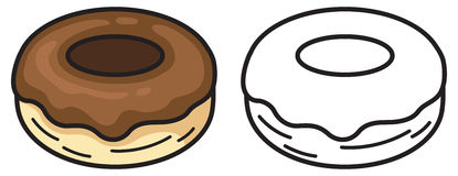 Colorful and black and white donut for coloring book. Illustration of isolated colorful and black and white donut for coloring book Royalty Free Stock Photography