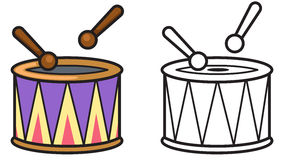 Colorful and black and white drum for coloring book Stock Images