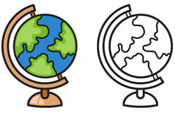 Colorful and black and white earth globe for coloring book Stock Images
