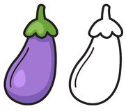 Colorful and black and white eggplant for coloring book Stock Photography