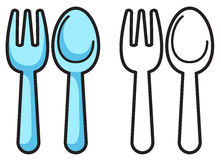 Colorful and black and white fork and spoon for coloring book. Illustration of isolated colorful and black and white fork and spoon for coloring book Royalty Free Stock Image