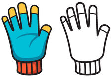 Colorful and black and white glove for coloring book Royalty Free Stock Photos