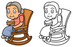 Colorful and black and white grandmother for coloring book Royalty Free Stock Photography