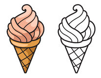 Colorful and black and white ice cream for coloring book Royalty Free Stock Image