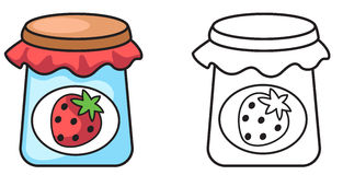 Colorful and black and white jam for coloring book Stock Photo