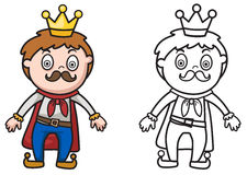 Colorful and black and white king for coloring book Stock Photography
