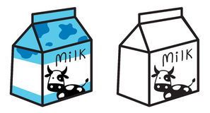 Colorful and black and white milk for coloring book Royalty Free Stock Images