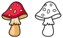 Colorful and black and white mushrooms for coloring book Stock Photography