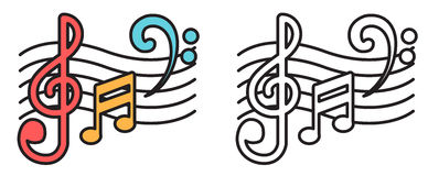 Colorful and black and white music notes for coloring book Royalty Free Stock Image