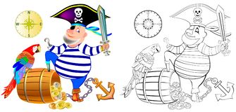 Colorful and black and white pattern for coloring. Illustration of funny pirate with a parrot. Royalty Free Stock Photos