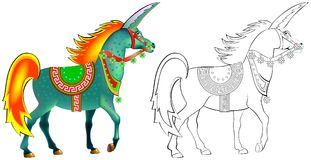 Colorful and black and white pattern for coloring. Illustration of imaginary antique unicorn. Stock Image