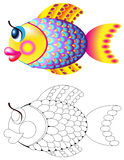 Colorful and black and white pattern of fish. Vector cartoon image. Scale to any size without loss of resolution Royalty Free Stock Images