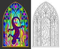 Colorful and black and white pattern of Gothic stained glass window with salamander and flames. Vector cartoon image. Scale to any size without loss of Stock Photography
