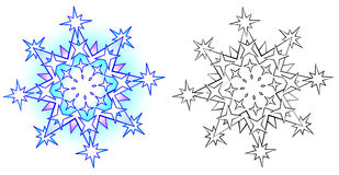 Colorful and black and white pattern snowflake. Stock Image