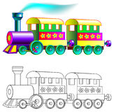 Colorful and black and white pattern train. Royalty Free Stock Image