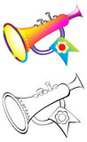 Colorful and black and white pattern trumpet. Royalty Free Stock Image